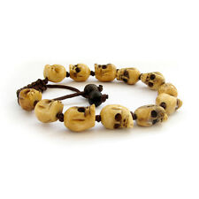 12 Beads Bone Skull Tibet Buddhist Prayer Beads Bracelet Mala Bangle Knot