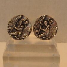 Sailors St Christopher 3D Sterling Silver Men's vintage Cufflinks - Fenwick and