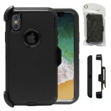 For iPhone X 10 Defender Case Impact Shock Proof  Cover Clip Fit Otterbox Black