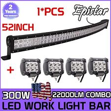 52 inch 300w Curved Led light bar +4x 4'' 18w spot Driving Jeep Boat Track Lamp