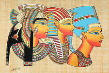 "Egyptian Papyrus - Hand Made - 9"" x 13"" Ancient Art Cleopatra, Tut & Nefertiti"