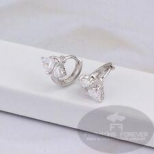 Fashions per sempre ® due pietre zirconi-Hoop orecchino placcato platino-UKSeller