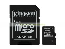 Kingston Micro SD HC 4GB 4G Class 4 C4 Flash Memory Card with Adapter New
