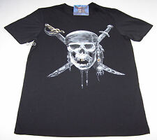 Disney Pirates Of The Caribbean Mens Skull Black Printed T Shirt Size S New