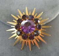 Vintage Starburst Purple Rhinestone Dress clip Brooch Pin Gold tone Sun Signed R