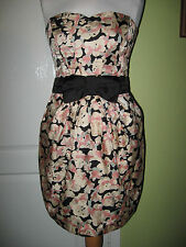 H&M UK 10 EUR 38 SILKY BLACK/MULTI STRAPLESS SPECIAL OCCASION SUMMER DRESS