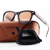 😎Portable Folding Sunglasses Polarized Black Tortoise Foldable Mens Vintage😎