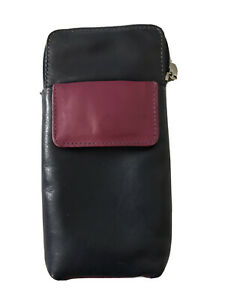 Golunski Leather Spectacled Case: Navy / Pink / Purple & Front Pocket