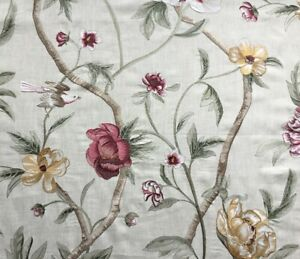 Zoffany Curtain Fabric 'Flowering Tree' 2m Pink/Green - Embroidered