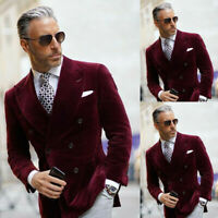 Men Burgundy Velvet Blazer Double-breasted Wide Peaked Lapel Groom Wedding Suits