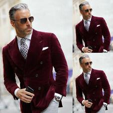 Velvet Double Breasted Men Suits Burgundy Blazer Party Wear Coat Jacket Slim Fit