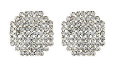 Silver Clip On Earrings stud with clear crystal diamantes - Beatrix