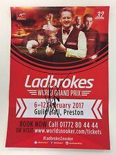 Snooker ladbrokes world grand prix flyer 2017. signé par kyren wilson.