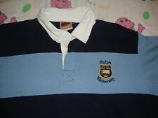 Oxford University Academia College Europe Stripe Rugby Style Polo Shirt Mens 2XL
