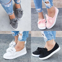 Women Flat Slip On Bow Comfy Sneakers Summer Loafer Trainer Plimsolls Pump Shoes