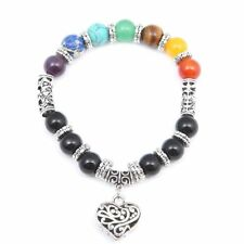 Lava Energy Natural Stone Pendant Chain Heart Jewelry 7chakra Bracelet Agate 8mm