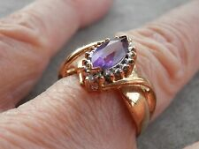 14K Solid Yellow Gold Marquise Deep Purple Amethyst Diamond Halo Ring Size 7.25