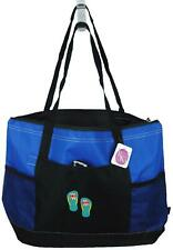 Pink Flower Flip Flops Monogram Bag Blue Zipper Tote Gemline Beach Vacation Gift