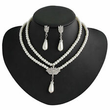 Pretty double white faux pearl wedding bridal lady necklace earring jewelry set