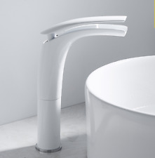 New Deck Mounted Hot& Cold Tap Brass Bathroom Basin Sink faucet  White or Black