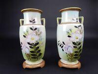 "Pair of Japanese Art deco Royal Nippon Vases Gilt handles 10"""