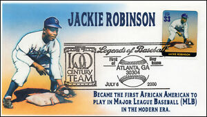 AO 3408A, 2000, Legends of Baseball, FDC, Add On Cachet, Jackie Robinson,