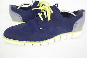 Cole Haan Zerogrand Wingtip Oxford Blue Suede Shoes Mens sz 10.5 M