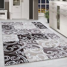 Kurzflor Design Teppich Patchwork Optik Tribal Muster Grau Braun Beige Meliert