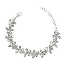 Charm Womens Lady Elegant Jewelry Flower Rhinestone Cuff Bracelet Chain Bangle