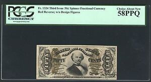 """1864-69 50 CENT FRACTIONAL CURRENCY FR1324 """"SPINNER"""" PCGS CHOICE ABOUT NEW-58PPQ"""