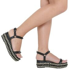 LADIES NEW FASHION ANKLE STRAP MID HEEL PLATFORM WEDGES WITH STUDS SIZE 3-8