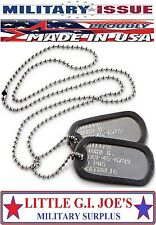 Genuine Military Dog Tags Army Navy USMC Marine Air Force ISSUE DOG TAGS SET