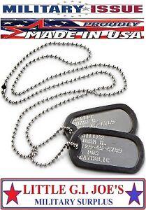 Genuine Military Dog Tags Army Navy USMC Marine Air Force ISSUE DOG TAGS SET