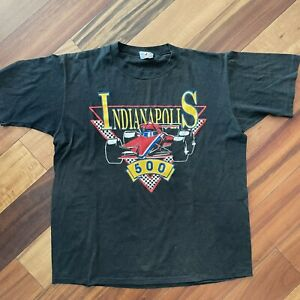 Indianapolis 500 Mens Size XL Vintage T-Shirt - Black Indy 500 Red Car