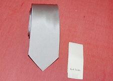 "NWT PAUL SMITH mens 100% silk silver grey shin skinny tie 56"" $170 ITALY"
