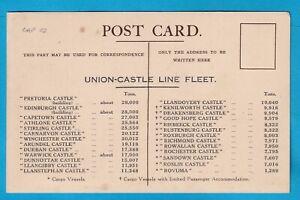 Original Postcard Union Castle Line CAPETOWN CASTLE SHIPS LIST