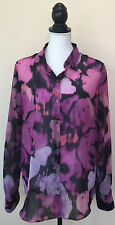 Velvet by Graham and Spencer Floral Sheer Button Down Tunic Long Blouse Size L