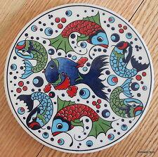 Turkish ceramic trivet ROUND- traditional Ottoman designs,16cm diameter FISH