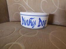 Vintage DINKY DOG White / Blue Stoneware Dog / Cat Bowl