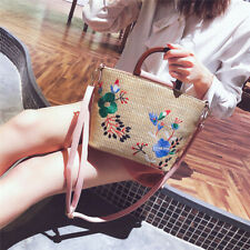Female Large Straw Shoulder Bags Flower Shaped Hand Woven Beach Accessories 6A