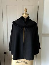 Antique Victorian Beaded Jet Cape Ribbons Silk Mourning Goth Halloween Witch
