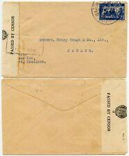 THAILAND to MALAYA WW2 CENSORED PENANG + PHUKET in BLUE on 15ST