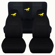 05-07 Ford Mustang Convertible Front & Rear Black with Yellow Horse Seat Covers