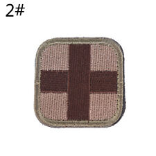 Outdoor Survival First Aid PVC Red Cross Hook Loop Fastener Badge Patch 5�—5cm Rx