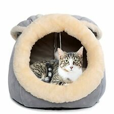 Beds for Cats - Small Dog Bed with Anti-Slip Bottom, Rabbit-Shaped Cat, Grey