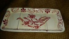 BFK Boch Freres Keramis antique pottery calling card tray flowers transferware