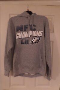 NEW Philadelphia Eagles NFC Champions Super Bowl LII NFL Gray Hoodie Sz Large L