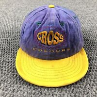 Vintage 90's Cross Colours Hip Hop Rap Cap Snapback hat Made In USA Embroidered