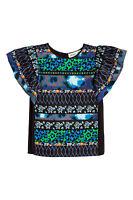 Kenzo x H&M Silk Blend Patterned Blouse Top Frill Sleeve UK 10 EU 36 US 6 BNWT