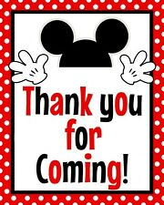 Disney Mickey Mouse STAND UP 8.5 x 11 in Thank you for Coming sign in Red!